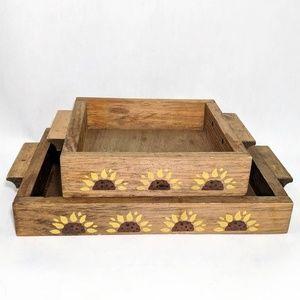 Vintage Wooden Sunflower Serving Tray Set